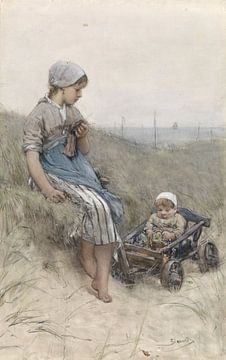 Fille de pêcheur avec enfant en poussette dans les dunes, Bernardus Johannes Blommers sur