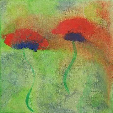 Gouache schilderij van rode papavers op een groene weide van Beate Gube