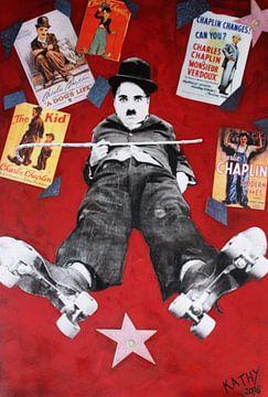 "Charlie Chaplin ""Rollers"" van Kathleen Artist Fine Art"