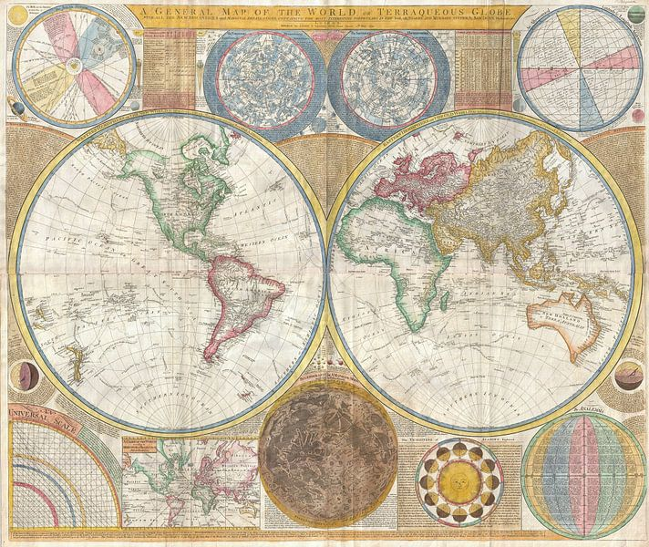 Kaart van de wereld 1794 van Atelier Liesjes