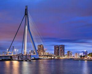 Erasmusbrug Rotterdam bij kleurrijke schemering