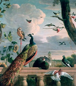 Palast von Amsterdam mit exotischen Vögeln, Melchior d'Hondecoeter