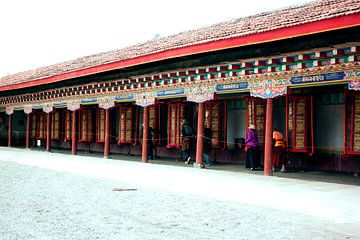 Tibetanen draaien aan gebedswielen in tempel von André van Bel