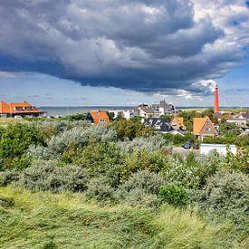 Vuurtoren Den Helder met uitzicht op Huisduinen van eric van der eijk