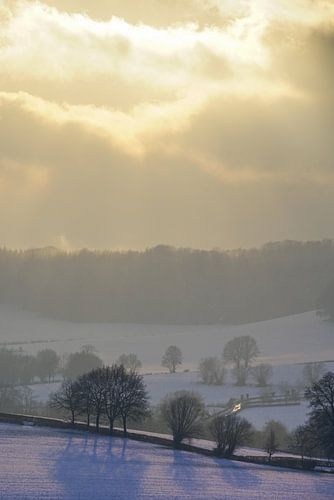 Zonnestralen over winterlandschap