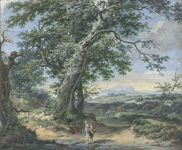 Hügelige Landschaft mit schweren Bäumen und menschlichem Staub, Pieter Pietersz. Barbiers