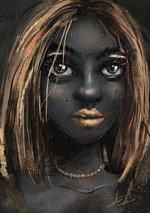 Donker gekleurde vrouw met goud gele accenten. Deze afikaanse dame heeft fraaie goudkleurige lippen  van Emiel de Lange
