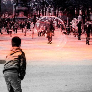 Man in zeepbel van Marcel van Berkel