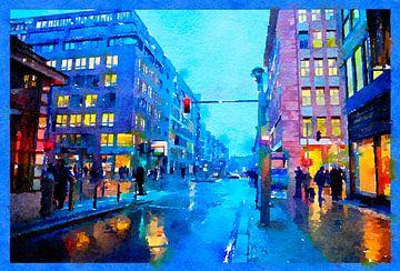 Abend Berlin im Regen, Zentrum von Ariadna de Raadt