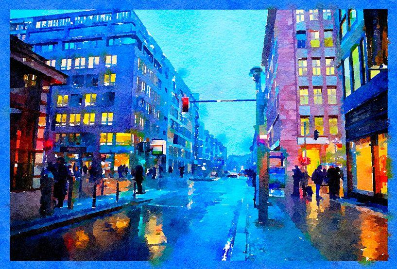 Abend Berlin im Regen, Zentrum von Ariadna de Raadt-Goldberg