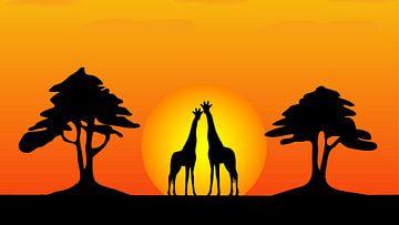 2 Giraffen bei Sonnenuntergang von Henny Hagenaars