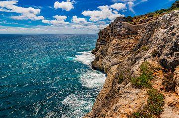 Zicht op maritiem zeegezicht met rotsachtige kustlijn van Alex Winter