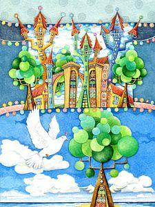 De duif en het sprookjesachtige kasteel van