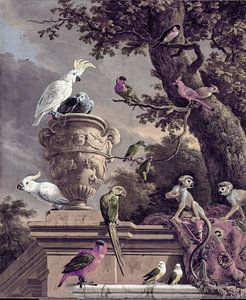 Nostalgie Kunst mit Affen und Vögeln