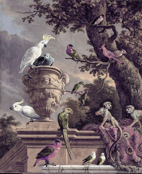 Nostalgie Kunst mit Affen und Vögeln von Andrea Haase