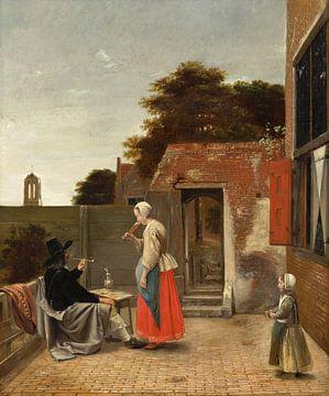 Hof mit einem rauchenden Mann und einer trinkenden Frau, Pieter de Hooch