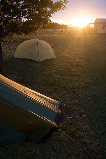 Zonsopgang op de camping in Nieuw Zeeland