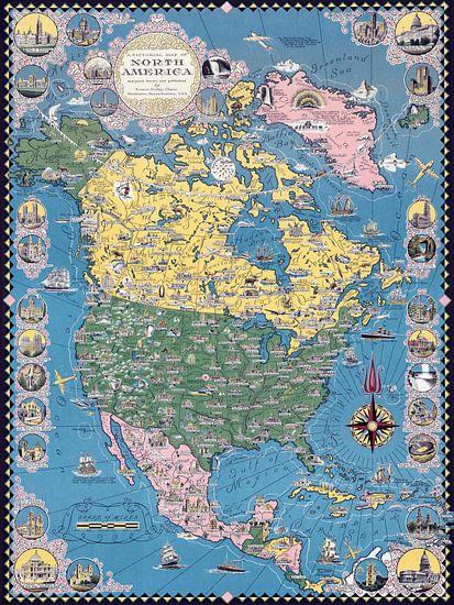 Historische kaart van Noord-Amerika