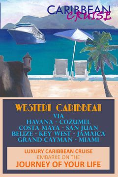 Westliche Karibik-Kreuzfahrt Retro-Reiseposter von Markus Bleichner