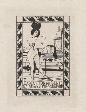 Weiblicher Akt neben einer Lithographie, Autuste Roedel, 1895 von Atelier Liesjes