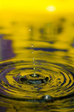 Macrofoto van een vallende druppel in water in geel en blauw von Thomas Poots