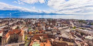 Lausanne at Lake Geneva in Switzerland