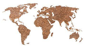Wereldkaart van echte Koffiebonen van - Wereldkaarten.shop -