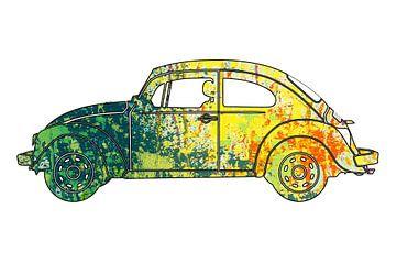 Volkswagen Käfer Ausschnitt mit grün gelbem Lackspritzmuster von Jan-Loek Siskens