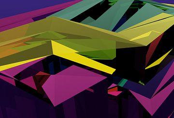 Tha Maze 6-2-3 van Pat Bloom - Moderne 3d en abstracte kubistiche kunst