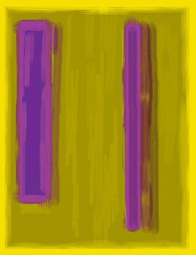 Abstract schilderij met geel en paars