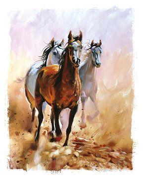 Kinderkamer poster - Paarden - Meisjeskamer van STUDIO68 wanddecoratie