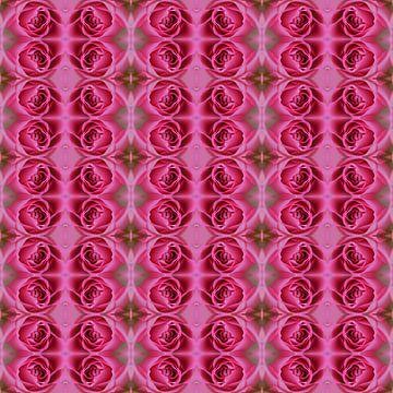 Fotografisch patroon met Roze Rozen van Ton Kuijpers
