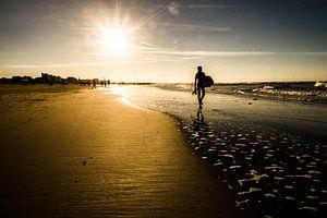 Surfer op winters strand bij  Scheveningen