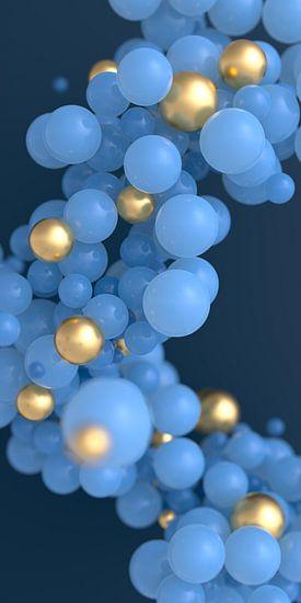 Blaue und goldene Kugeln