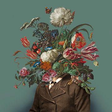 Portret van een man met een boeket bloemen (groengrijs / vierkant) van toon joosen