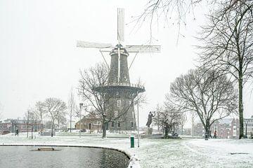 Leiden in de sneeuw/ molen De Valk van Dirk van Egmond