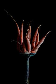 Stilleven wortel op een voetstuk van Clazien Boot