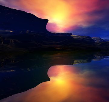 Montagnes au coucher du soleil von Angel Estevez
