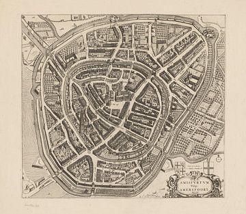 Plattegrond van Amersfoort uit  ca 1750