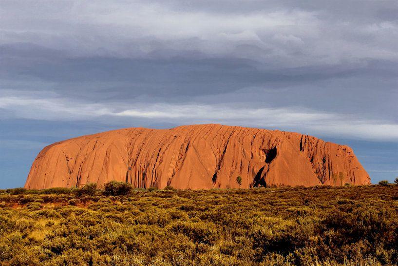 Donkere lucht, Uluru of Ayers Rock, Australië van Inge Hogenbijl