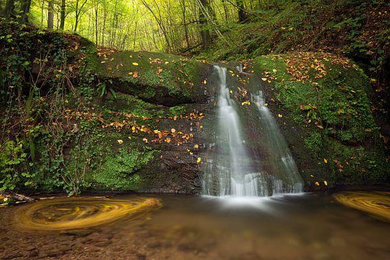 Waterval  Butzerbachtal tijdens de herfst in de Eifel, Duitsland. van Rob Christiaans
