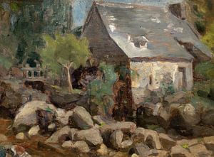 José Ferraz de Almeida Junior~Rustieke landschap met een brug en huizen
