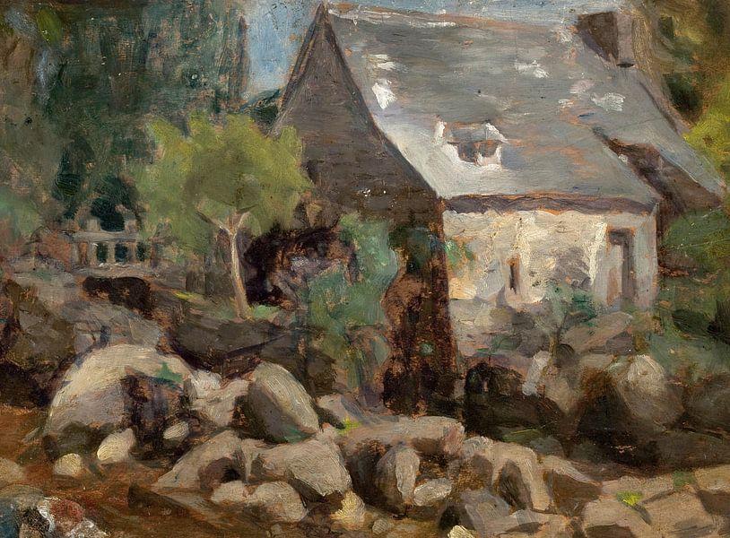 José Ferraz de Almeida Junior~Rustieke landschap met een brug en huizen van finemasterpiece