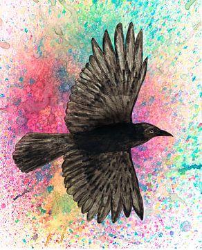Vliegende kraai van Bianca Wisseloo