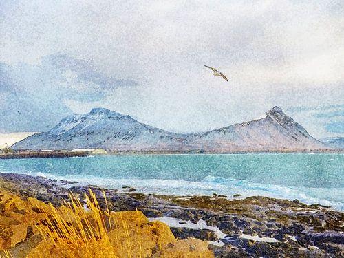 Aan het strand in Akranes, IJsland van