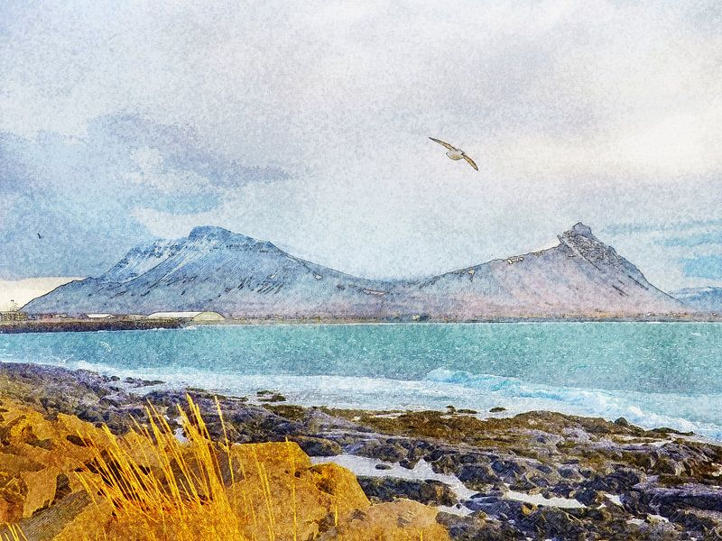 Aan het strand in Akranes, IJsland van Frans Blok