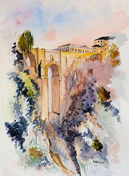 Puente Nuevo | Ronda | Spanje | Aquarel schilderij van WatercolorWall
