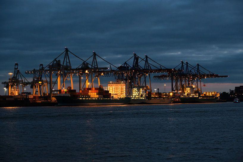 Hamburger Hafen bei Nacht von Borg Enders