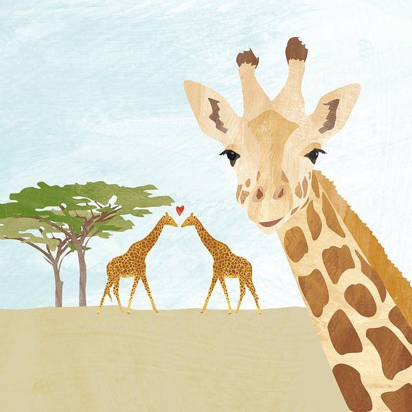 Giraf op savanne in Afrika van Karin van der Vegt