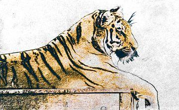 Digitale tekening van een tijger van Nannie van der Wal